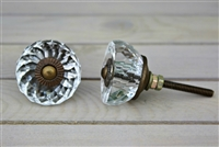 Glass knob with antique finish hardware