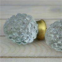Handmade glass knob with golden hardware