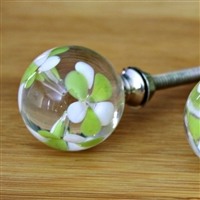 Clear Floral Glass Knob
