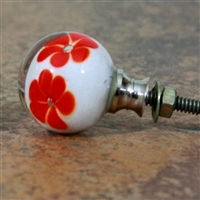 White Round Glass Knob with Red Flowers