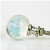 Glass Knob with Turquoise Flower