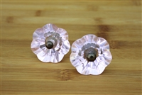Pink Flower Glass Knob