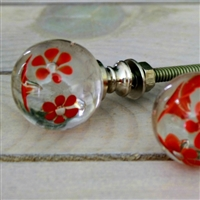 Daisy Glass Knob - Red