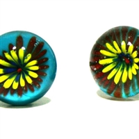 Glass Knob with Yellow Flower
