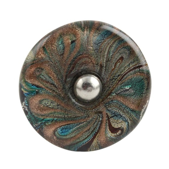 Peacock Feather Flat Glass Cabinet Knob