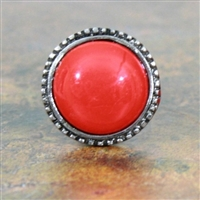 Antique Silver Metal Knob with Red Glass