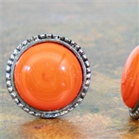 Antique Silver Metal Knob with Orange Glass