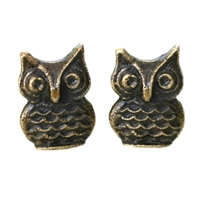 Metal Owl Cabinet Knob in Antique Brass Finish
