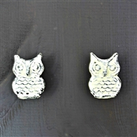 Metal Owl Cabinet Knob in White Wash Finish