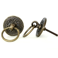 Round Flower Drawer Knob with Ring
