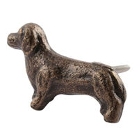 Dachshund Dog Iron Cabinet Knob in Antique Brass