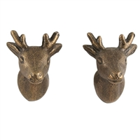 Deer Head Iron Cabinet Knob in Antique Brasss