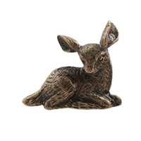 Fawn Metal Cabinet Knob in Antique Brass