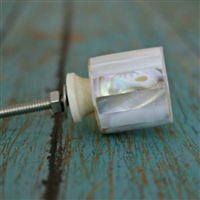 Cylindrical Mother of Pearl Cabinet Knob