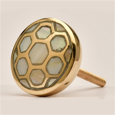 Mother of Pearl & Brass Cabinet Knob