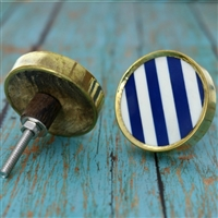 Round Stripe Resin Cabinet Knob with Metal Border