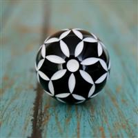 Black and Whiter Floral Resin Cabinet Knob