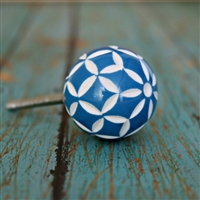 Blue and Whiter Floral Resin Cabinet Knob