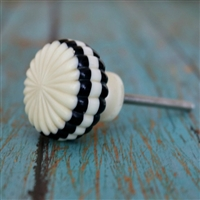 Round Black & Creamy White Ribbed Resin Cabinet Knob
