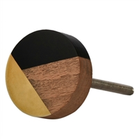 Round Wood, Resin, & Metal Cabinet Knob