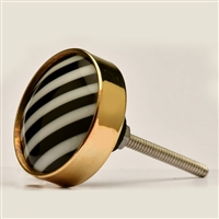 Black Stripe Resin Cabinet Knob with Metal Border