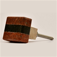 Red & Black Rectangular Stone Cabinet Knob