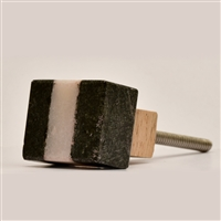 Black & White Rectangular Stone Cabinet Knob
