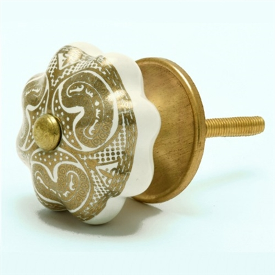 Gold & White Ceramic Cabinet Knob