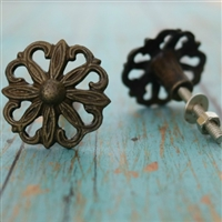 Floral Metal Cabinet Knob in Antique Brass Finish