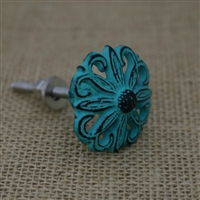 Floral Metal Cabinet Knob in Distressed Green