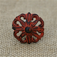 Floral Metal Cabinet Knob in Distressed Orange