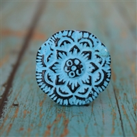 Flat Floral Metal Cabinet Knob in Distressed Blue