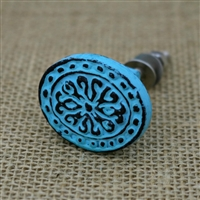 Floral Metal Cabinet Knob in Distressed Blue