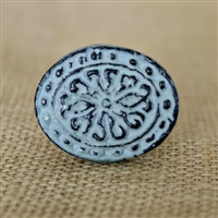 Floral Metal Cabinet Knob in Distressed Sage Green