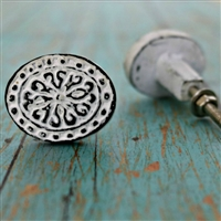 Floral Metal Cabinet Knob in Distressed White