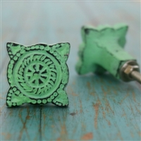 Round Metal Cabinet Knob in Distressed Green