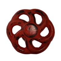 Wheel Shaped Metal Cabinet Knob in Distressed Red