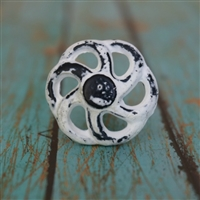 Wheel Shaped Metal Cabinet Knob in Distressed White
