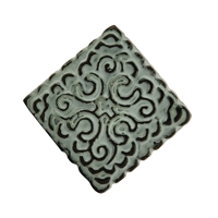 Square Metal Cabinet Knob in Distressed Green