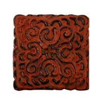 Square Metal Cabinet Knob in Distressed Orange