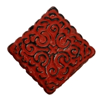 Square Metal Cabinet Knob in Distressed Red