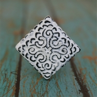 Square Metal Cabinet Knob in Distressed White