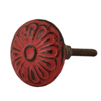 Round Metal Cabinet Knob With Floral Pattern in Distressed Red