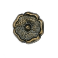 Floral Metal Cabinet Knob in an Antique Brass Finish