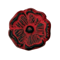 Floral Metal Cabinet Knob in Distressed Red