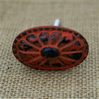 Oval Metal Cabinet Knob in Distressed Orange