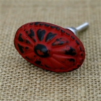 Oval Metal Cabinet Knob in Distressed Red
