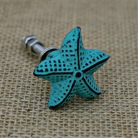 Star Fish Cabinet Knob in Distressed Sea Green
