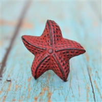 Star Fish Cabinet Knob in Distressed Red