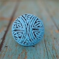 Round Metal Cabinet Knob in Distressed Blue